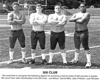 James Robinson 2013 300-LB Bench Press Club members Joe Wilson Daniel Mika Jake Pinkston and Juan Morales
